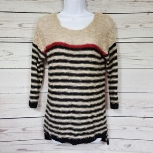 Pink Rose striped quarter sleeve knit sweater M